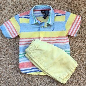 18m boys Nautica button down shirt and chino set.